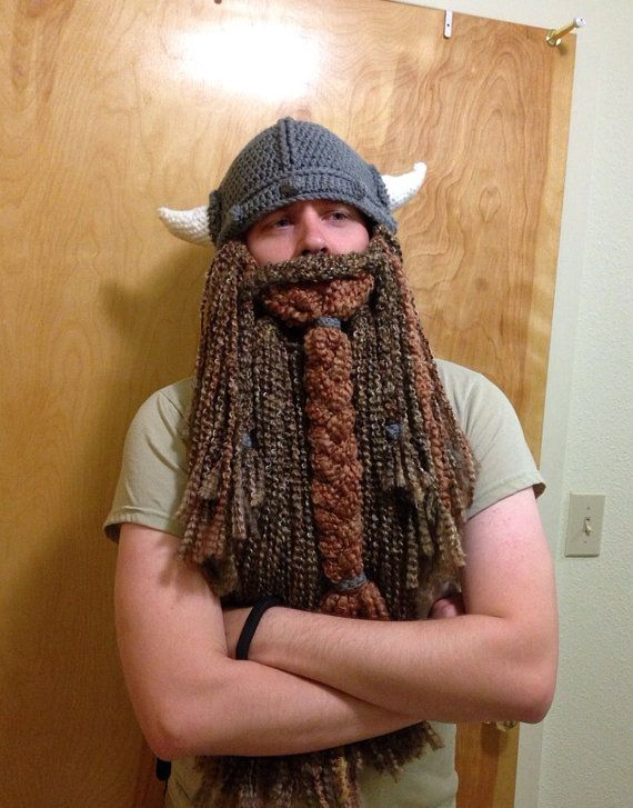 Knit Beard Pattern : Viking Hat and Beard for Stacie (Black/red beard) Vikings, Viking beard and...