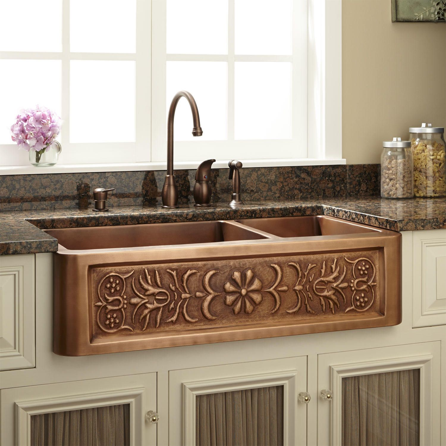33 Flower Motif 60 40 Offset Double Bowl Copper Farmhouse Sink In