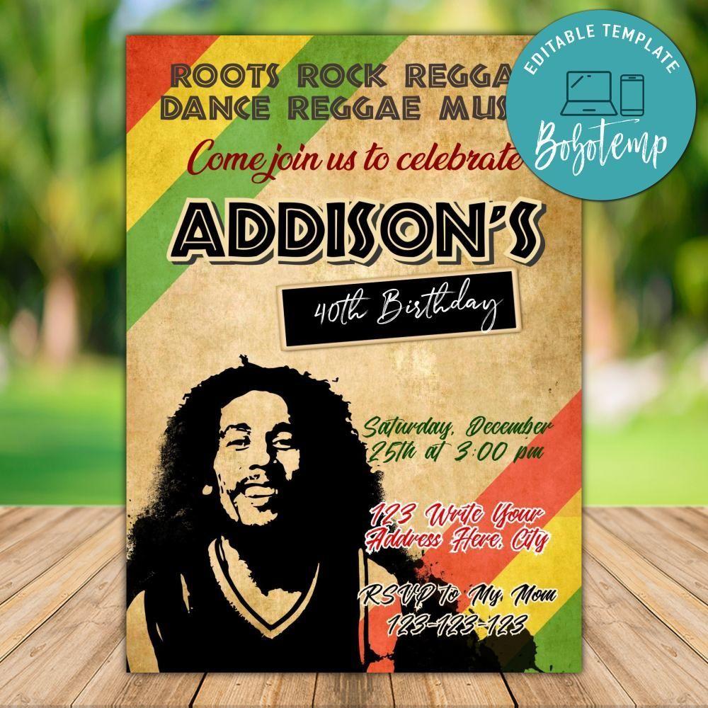 Printable Bob Marley Birthday Party Invitation Instant Download Bobotemp Bob Marley Birthday Birthday Party Invitations Party Invitations