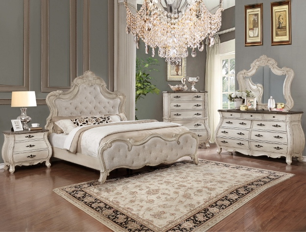 B1000 4 Pc Astoria Grand Ashford Antique White Finish Wood Queen