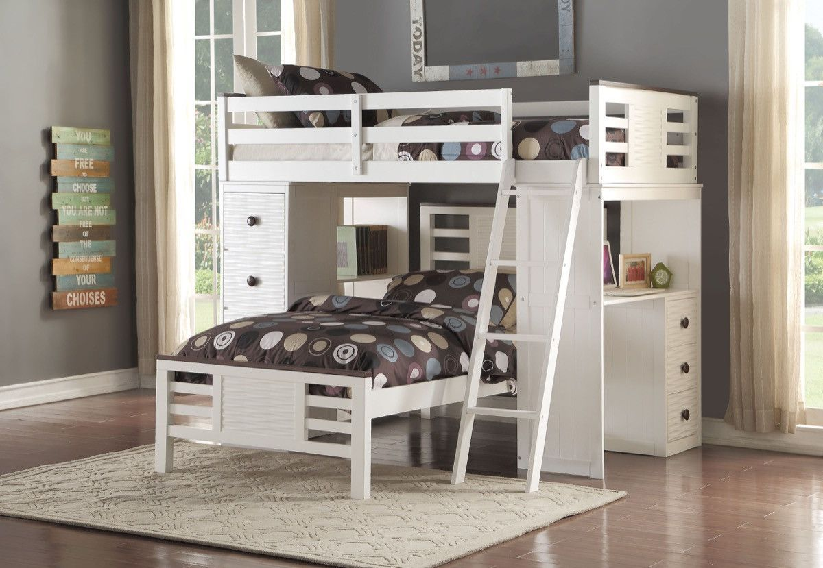 ACME Florrie Loft Bed w/Desk (Twin) White & Espresso