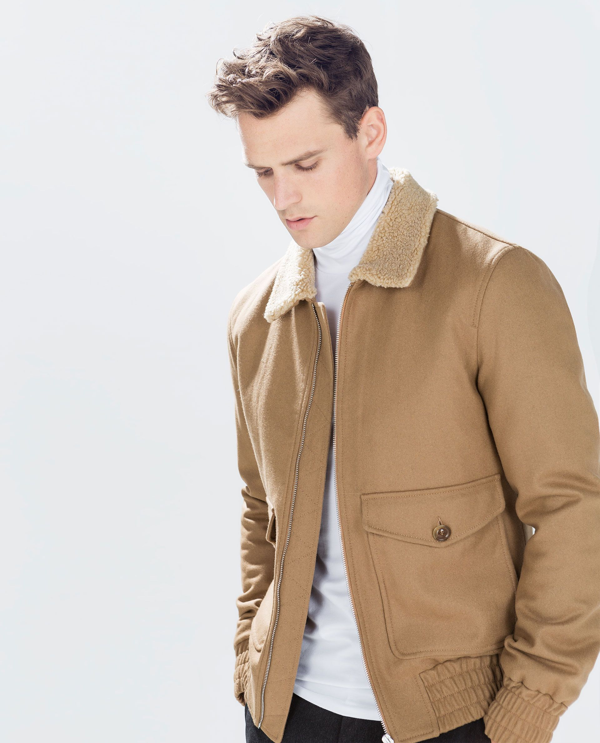 Aviator Jacket With Fleece Collar Jackets Man Zara Germany Mens Winter Fashion Outfits Sport Jacket Men Aviator Jackets