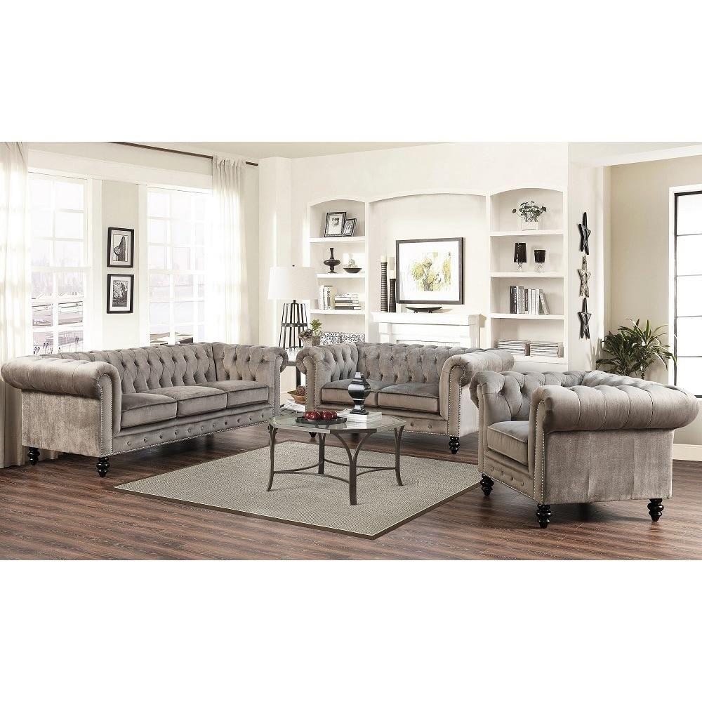 Best Chesterfield Grey Velvet 3 Piece Living Room Set Living 400 x 300