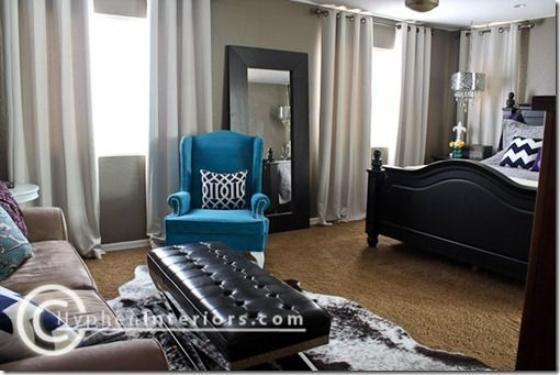 I want this blue chair & color introduced into master suite