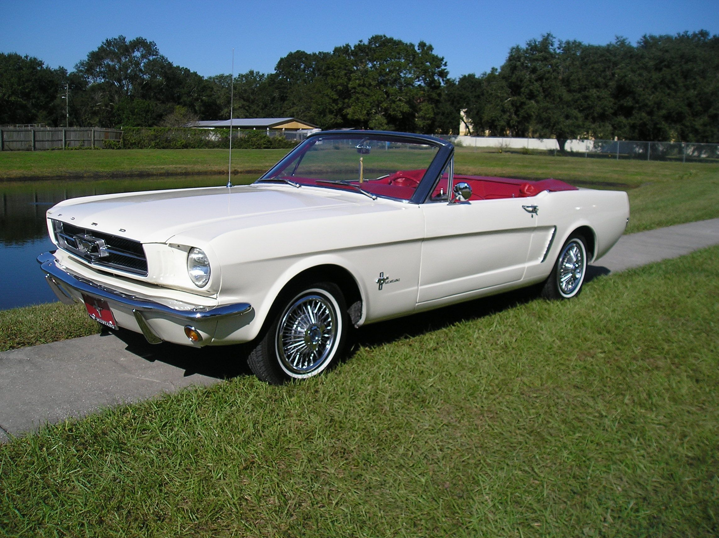 1965 ford mustang convertible diggin the white w red interior