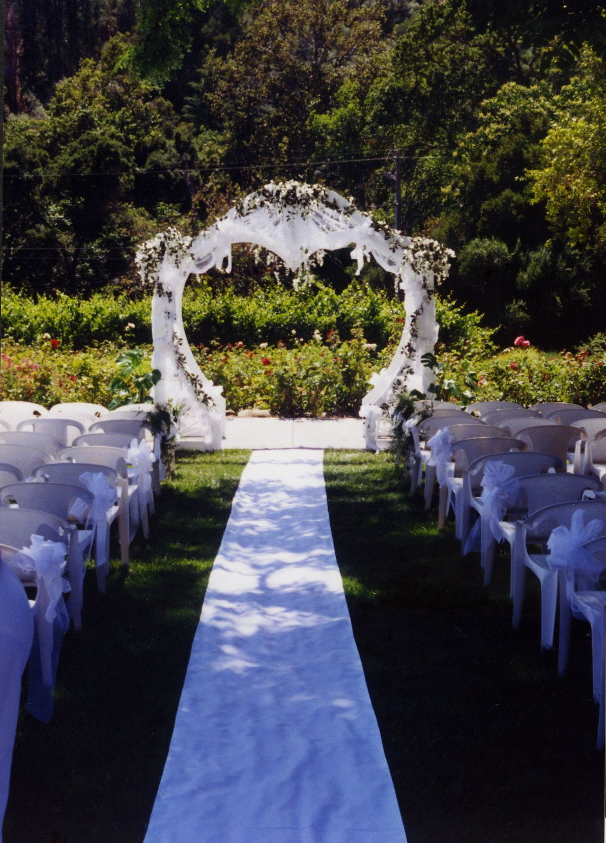 decorated wedding arch shaped arch decorated in white tulle silk wisteria 3347