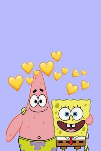 Download Spongebob and Patrick with Yellow Hearts Wallpaper | CellularNews
