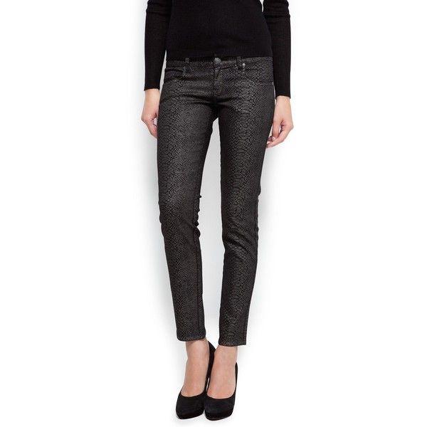 MANGO Snake Skin Print Slim-Fit Jeans ($60) ❤ liked on Polyvore