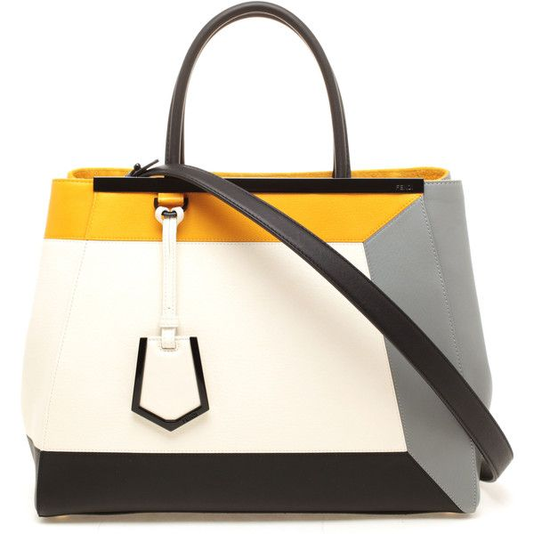 FENDI '2 Jours' Contrasting Leather Shopper Bag found on Polyvore