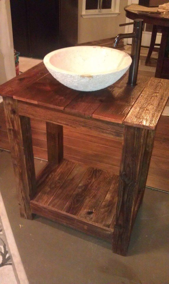 Bathroom Vanity   we can DIY   hmm   maybe built from reclaimed pallets. Small Rustic Bathroom Vanity Ideas   Rustic Bathroom Vanities
