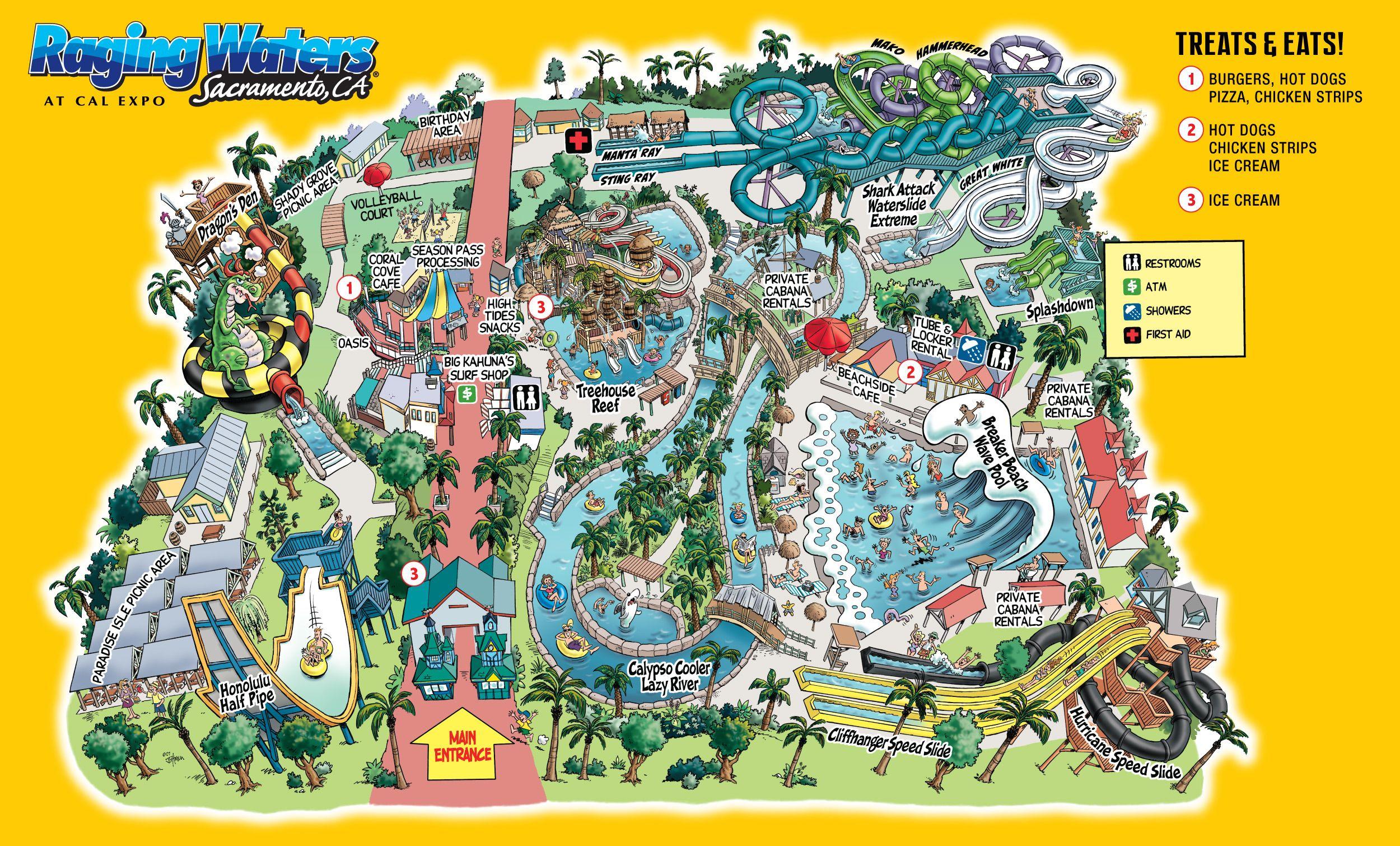 Raging Waters Sacramento Park Map Water Theme Park Theme Park Planning Sacramento Parks