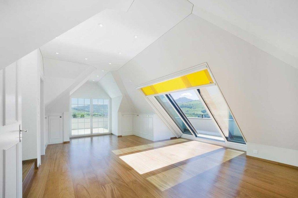 Luxus Mietwohnungsanlage Innenansicht Dachschiebefenster Dachfenster Dachboden Schlafzimmer Ideen