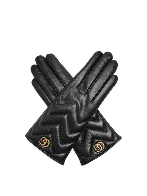 Gucci Chevron-quilted leather gloves  b2ba5c08cac