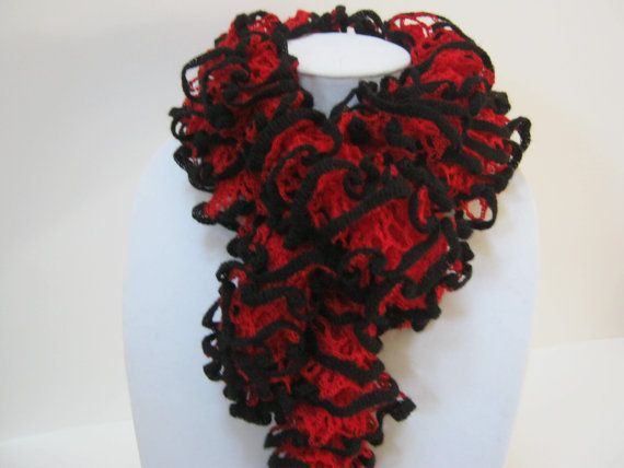 Hand Knit Ruffle Scarf Red Black Winter Accessories Ribbon Scarf Winter  Scarf Woman Teen Gift Idea