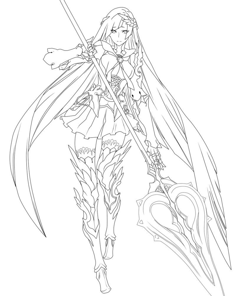 Fate Grand Order Brynhild Lineart By Cerberusyuri Coloring Pages Fairy Coloring Pages Fairy Coloring