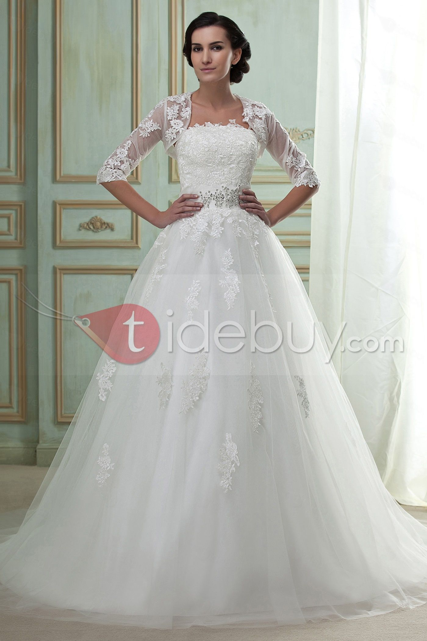 Fast Shipping Amazing Ball Gown Strapless Chapel Train Appliques ...