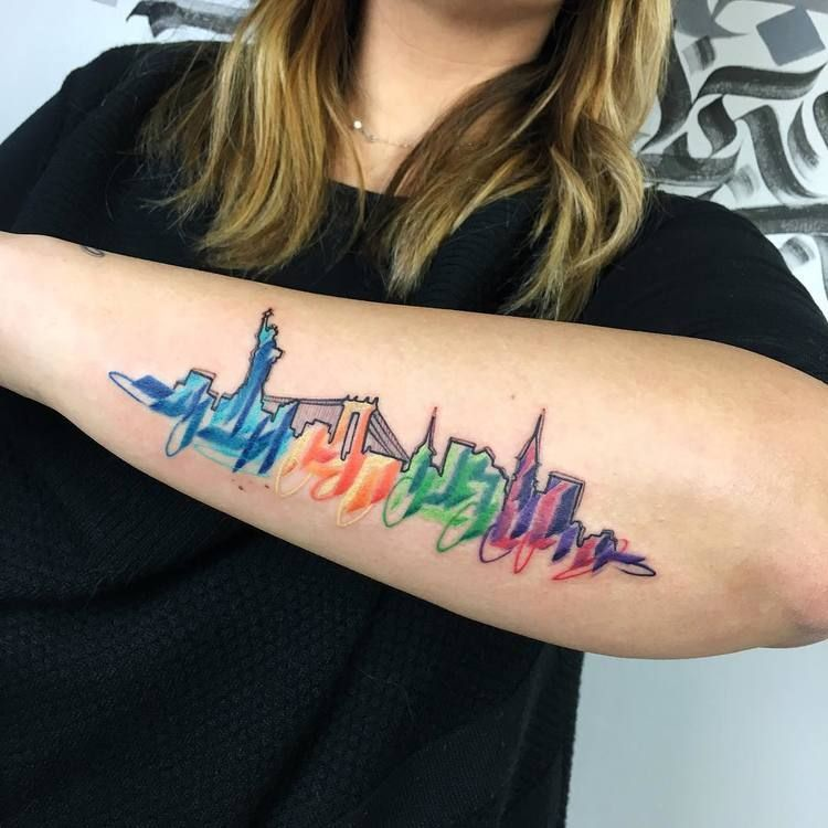 Watercolor City Tattoo Tattoo Sketches Skyline Tattoo Nyc Tattoo