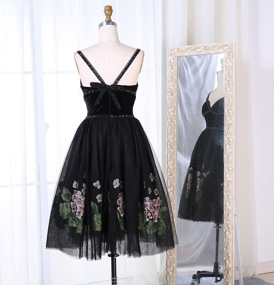 Berylove tea length black velvet prom dresses short tulle prom