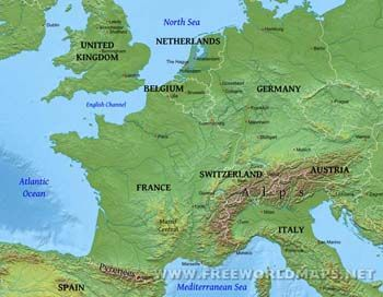 Western Europe physical features Europe maps Pinterest