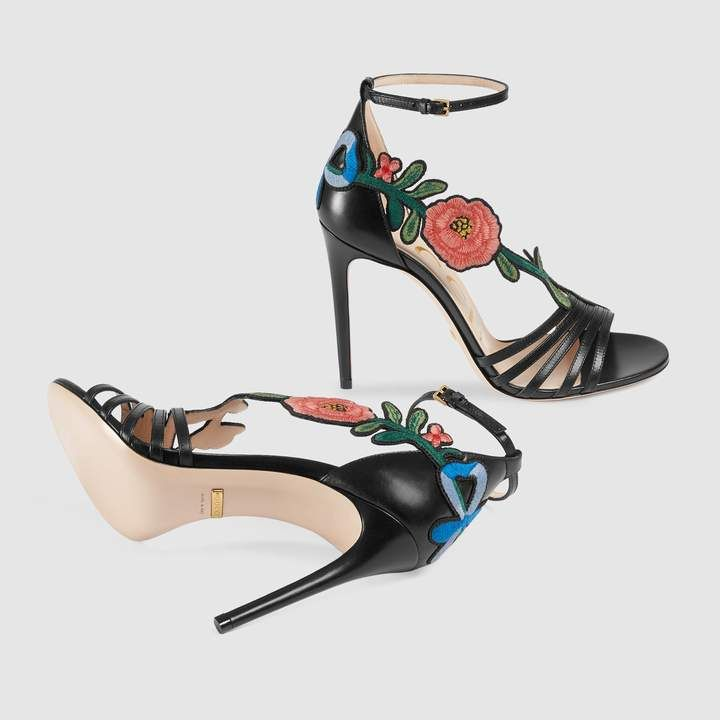 8150a5ceaefe7 Embroidered leather mid-heel sandal  womensfashion  womensshoes  ad  heels   pumps  embroidered