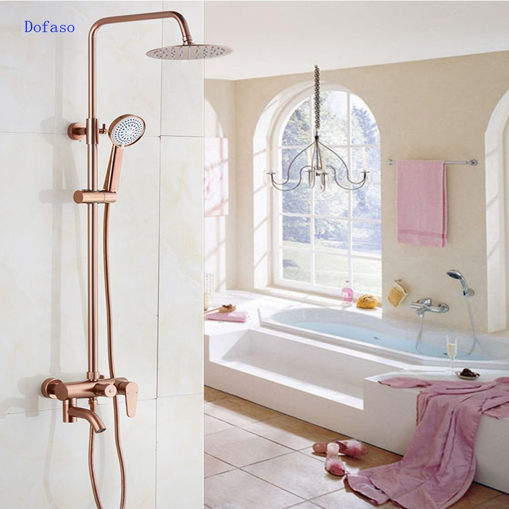 Dofaso Luxury Rose Gold Copper Shower Faucet Bathroom Antique Shower Set 8 Rainfall Shower Kit Bath Brass Gold Shower Bathroom Faucets Bathroom Design Luxury