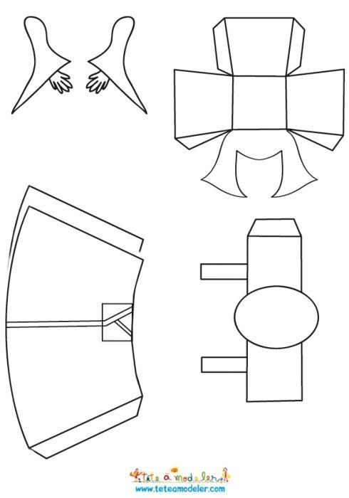 Kokeshi Paper Toy à Colorier Sur Tête à Modeler Paper