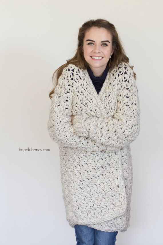 CROCHET PATTERN Coastal Fog Chunky Cardigan | Knitting and Crochet ...