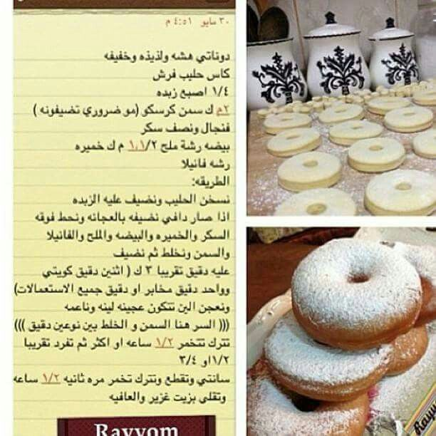 الدونات Arabic Food Lebanese Desserts Recipes Dessert Recipes