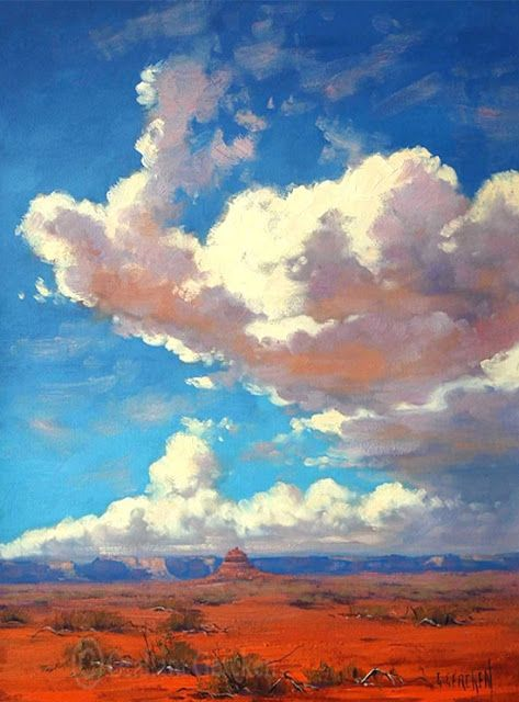 Australian Impressionist Landscape Painter Graham Gercken 1960 Landscape Art Desert Painting Sky Painting