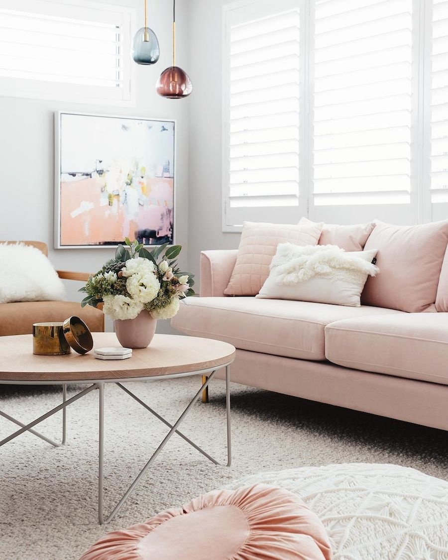 Blush Pink Sofas Add A Touch Of Color To Your Living Room Homelovr Pink Sofa Living Room Pink Living Room Pink Sofa Living