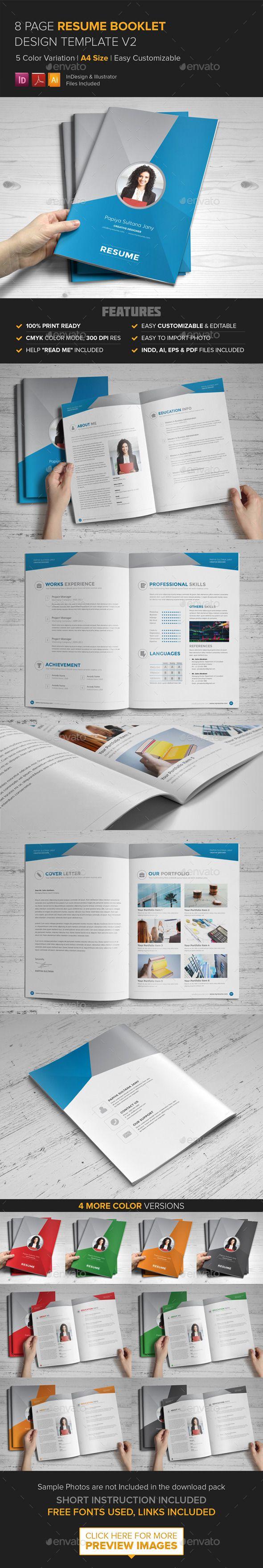 resume booklet design  indesign  v2