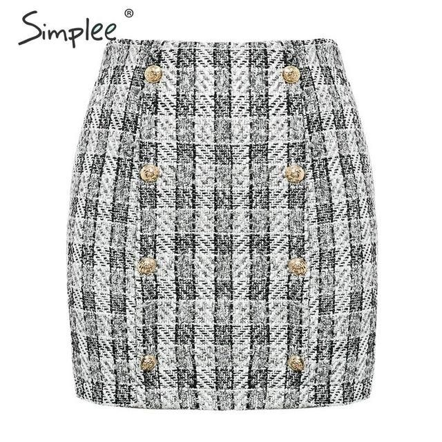 Simplee Double-Breasted tweed plaid women skirt Straight elegant office ladies short mini skirt Vintage autumn female skirt 2
