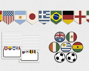 Printable World Cup Country Flags Party Decor Vintage Pennant Banner Cupcake Toppers Tent Cards Soccer Flags O Party World World Cup Flags Of The World