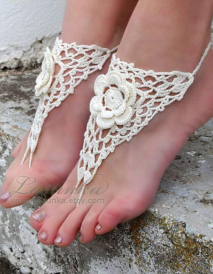 Barefoot sandals Bridal shoes Wedding sandals Ankle