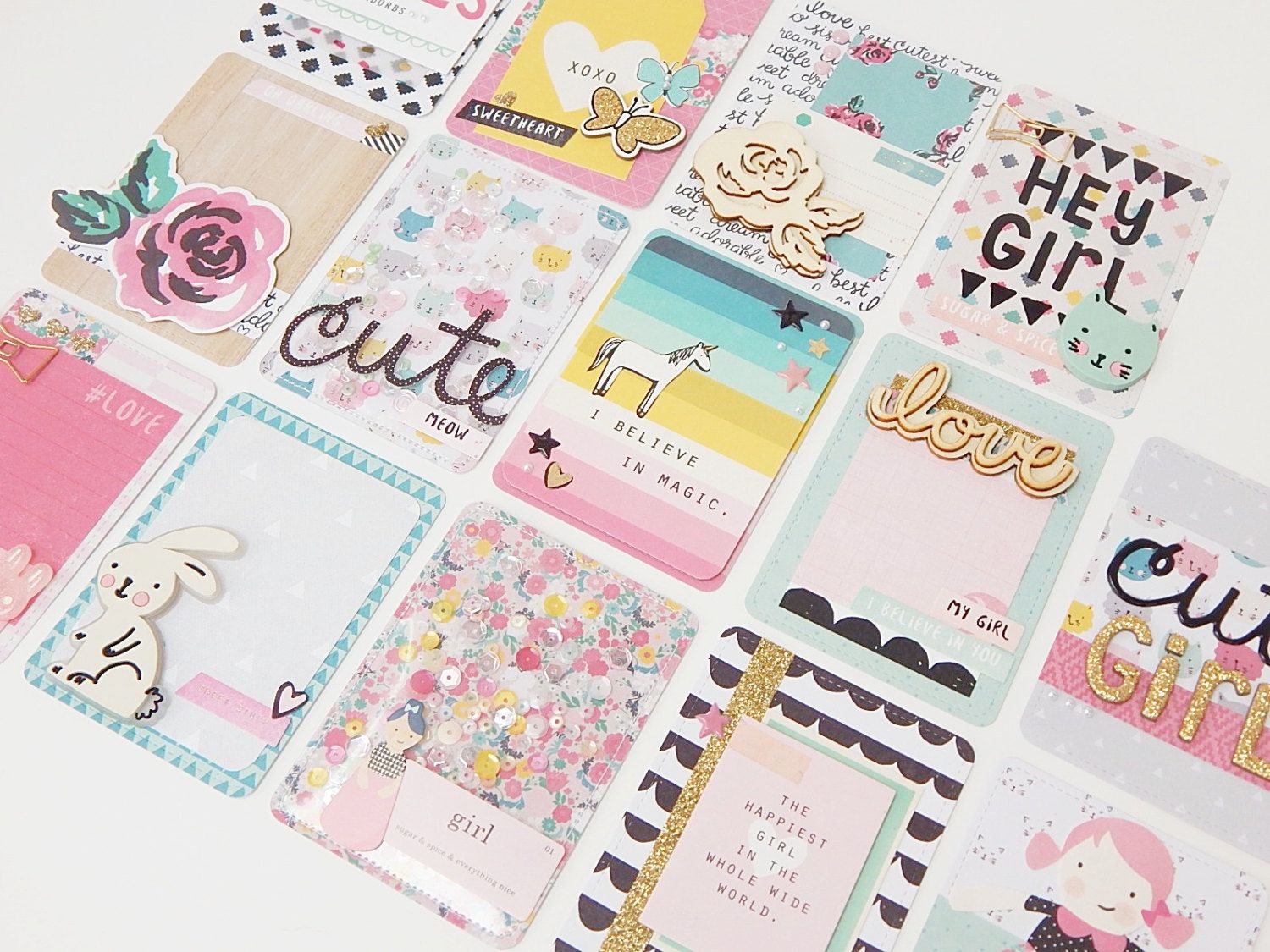 Project Life Card Set - Crate Paper - Cute Girl - 14 Journalling and Embellished…