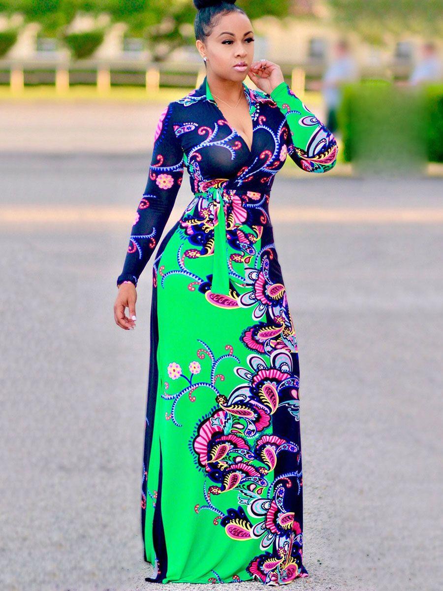 V neck long sleeve printing womenus maxi dress maxi dresses retro