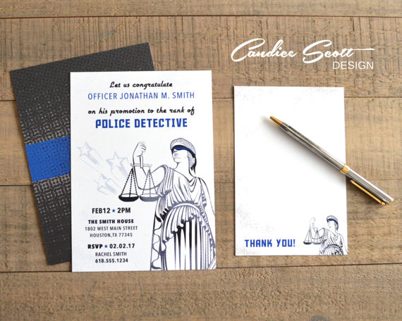 Police Officer Promotion Invitation With Matching Thank You Etsy Thank You Card Template Promotion Party Thank You Cards