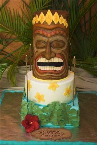 Sensational Tiki Cake Tiki Cake Hawaiian Cake Luau Theme Party Funny Birthday Cards Online Elaedamsfinfo