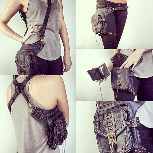 "Fashion and Action: Post-Apocalyptic Sci-Fi Gunslinger Holster Style Bag ""fanny pack for the apocalypse. Lol."