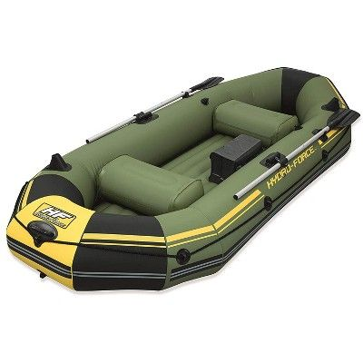 Bestway Hydro Force Marine Pro 115 Inflatable 2 Person Fishing Boat Lake Raft With 2 Aluminum Oars Inflation Pump And Fishing Rod Holders Green In 2021 White Water Kayak Inflatable Kayak Inflatable Boat