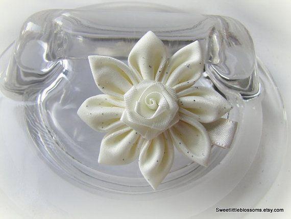 Kanzashi Flower Hair Clip   Ivory Blossom by Sweetlittleblossoms