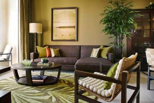 Naturalistic Yellow And Green Living Room With Summer Mood Home
