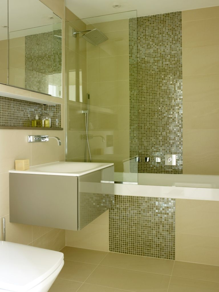 Mayfair Penthouse. Bathroom with mosaic and porcelain tile, recessed ...