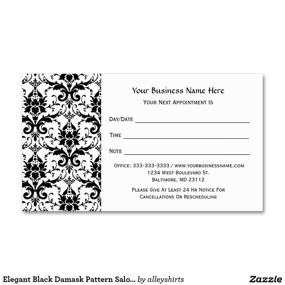 Elegant Black Damask Pattern Salon Appointment Business Card - Appointment business card template