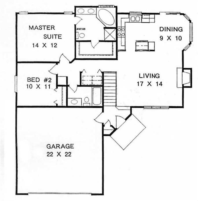 Ranch Home With 2 Bedrooms 1076 Sq Ft House Plan 103 1048 Ranch Style House Plans Bedroom House Plans Traditional House Plans