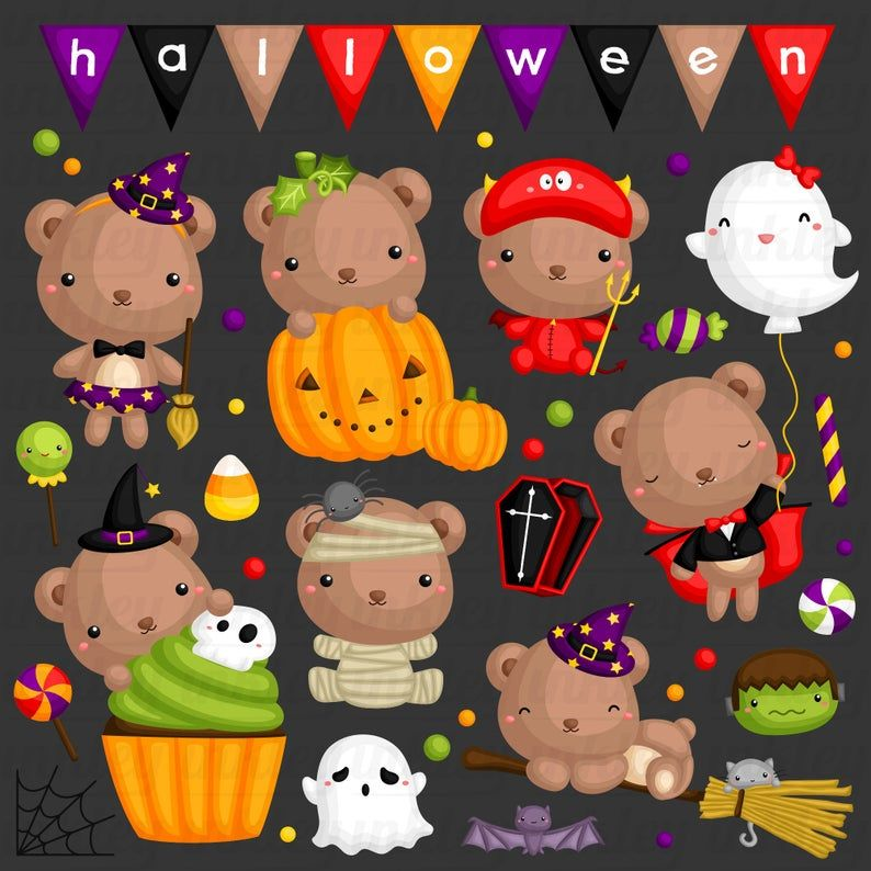 Halloween Bear Clipart Cute Animal Clip Art Holiday Etsy Bear Clipart Clip Art Bear Images