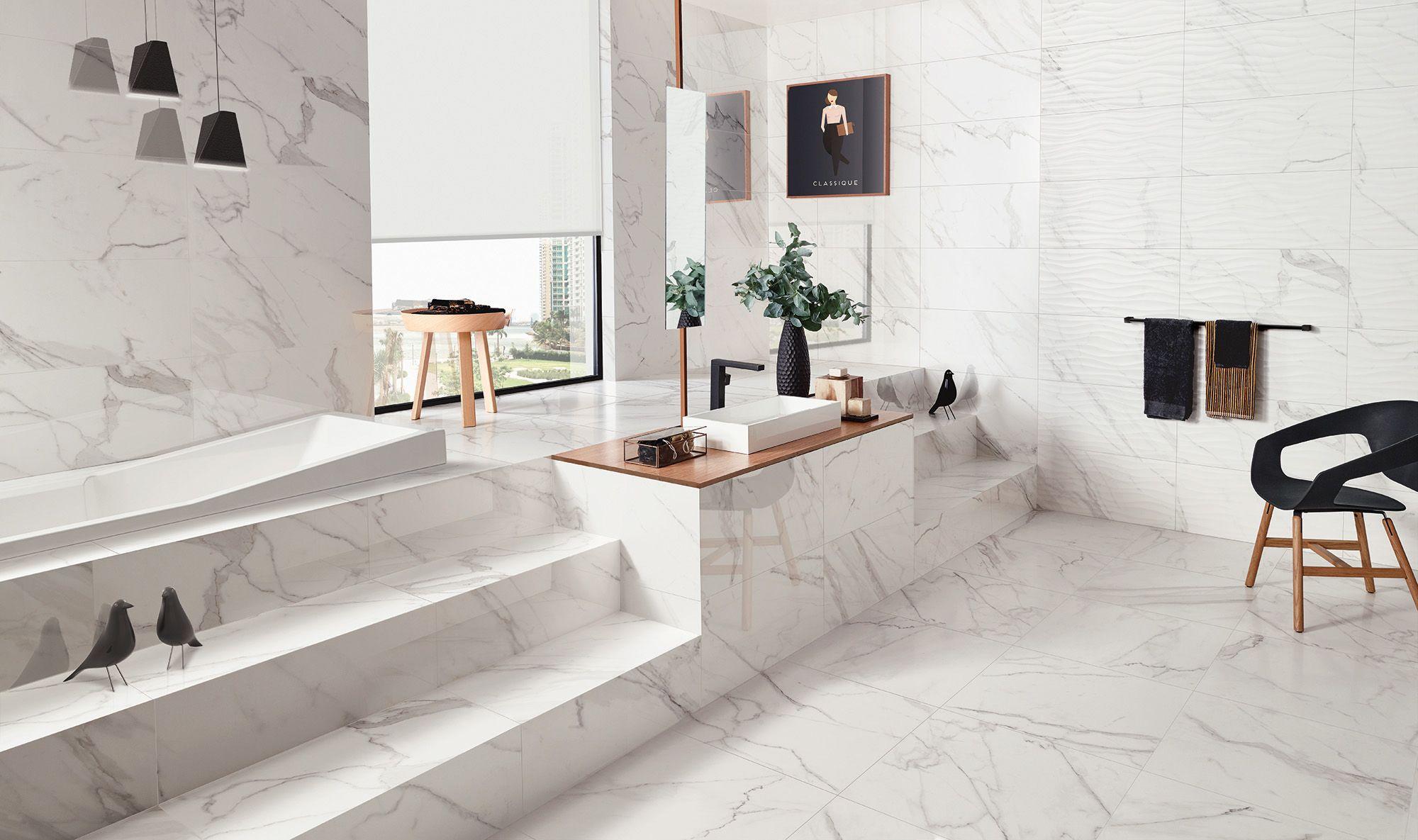 24x24 Floor Tile 14x27 Wall Tile And 14x27 Curl Deco In Calacatta Best Bathroom Flooring Bathroom Tile Designs Bathroom Flooring