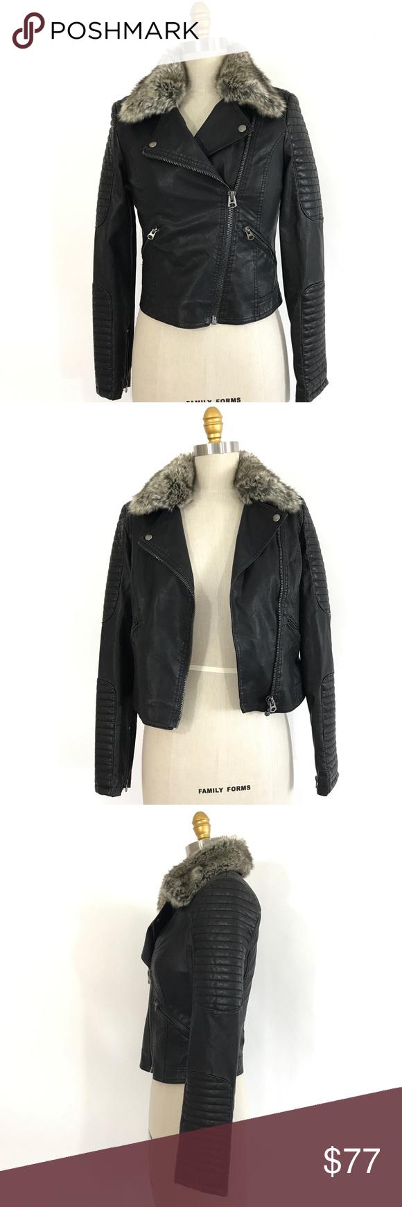 black faux leather fur biker jacket (With images