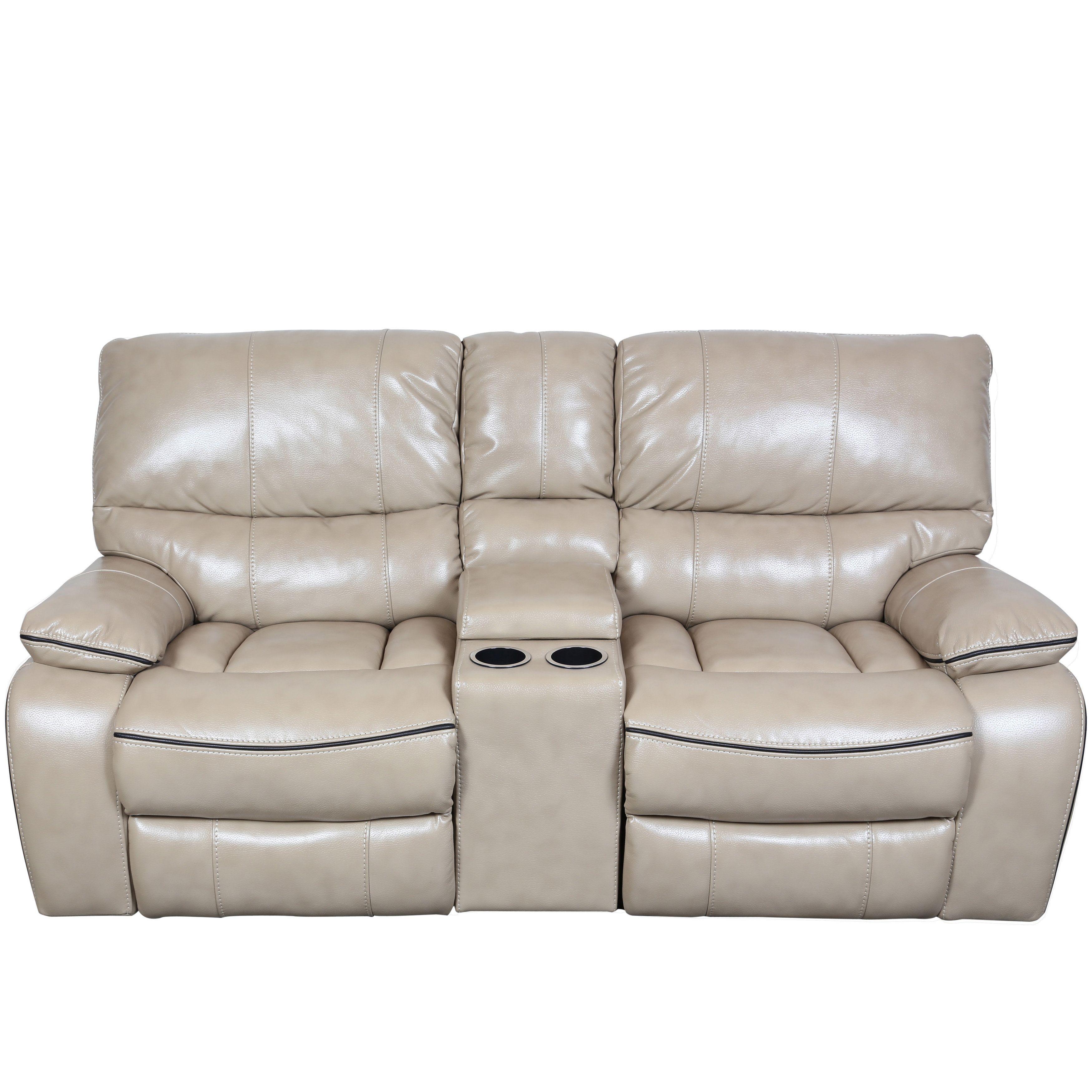 Porter Alameda Cream Vegan Leather Like Dual Reclining Console Loveseat With Contrast Welt Sofa Best Sofa Love Seat