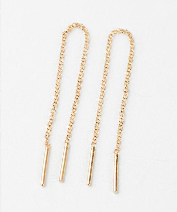 Gold Chain Earrings Rose Gold Threader Earrings by lunaijewelry
